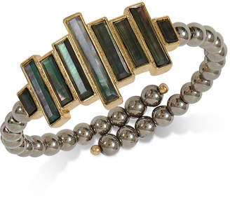 Lucky Brand Gold-Tone Black Mother-of-Pearl Stone Imitation Pearl Cuff Bracelet