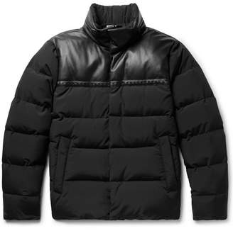 Bottega Veneta Leather-Panelled Wool-Blend Shell Down Jacket