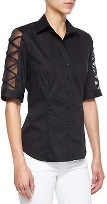 Finley Burnout-Sleeve Button-Front Blouse, Plus Size