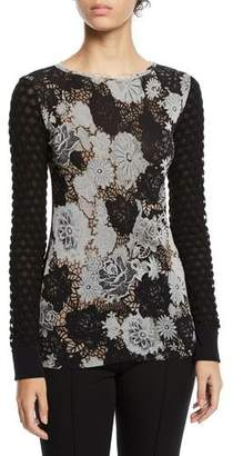 Fuzzi Floral-Lace Textured-Sleeve Top