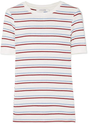 Frame Striped Ribbed Stretch-jersey Top - White