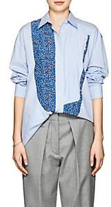 Cédric Charlier Women's Striped & Floral Cotton Poplin Blouse - Blue Pat.