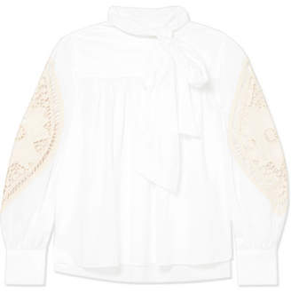 See by Chloe Crochet-paneled Cotton-poplin Blouse - White
