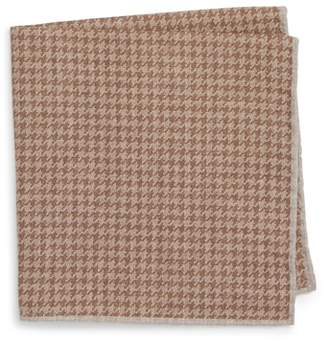 Eleventy Houndstooth Wool & Cotton Pocket Square