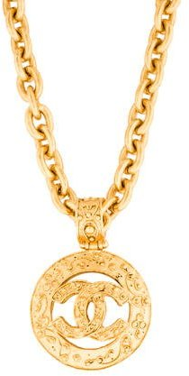 Chanel Chanel Textured CC Pendant Necklace
