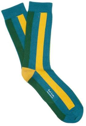 Paul Smith Vertical Striped Cotton Blend Socks - Mens - Blue