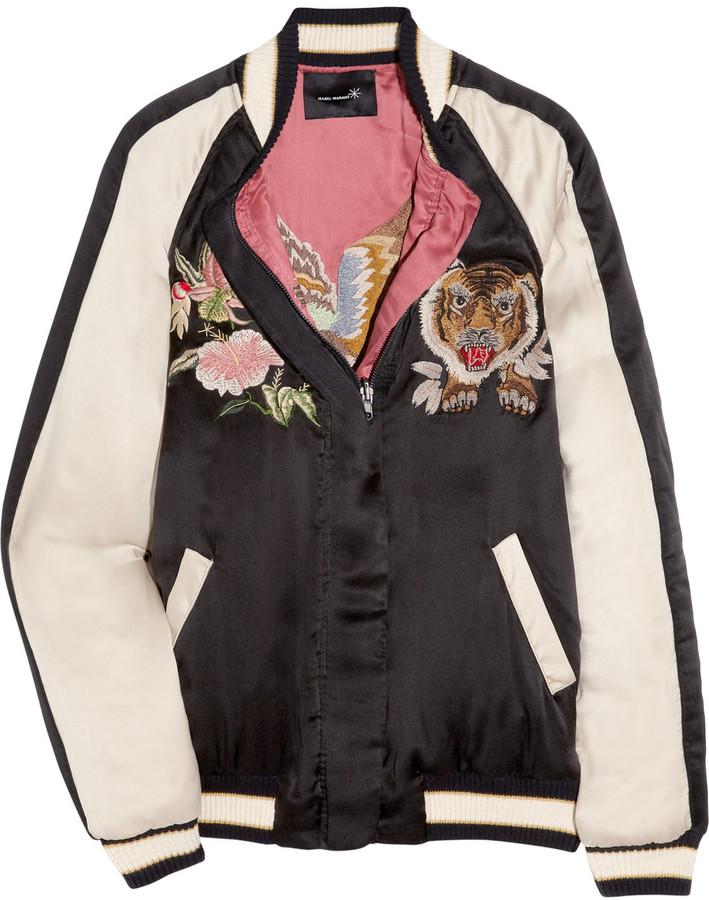 Isabel Marant Pieric washed-silk baseball jacket
