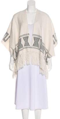 Ulla Johnson Fringe-Trimmed Tweed Poncho