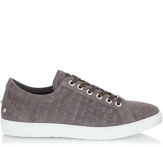 Jimmy Choo CASH Smoke Crocodile Print Denim Leather Low Top Trainers