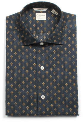 Culturata Men's Tailored Fit Fleur de Lis Dress Shirt
