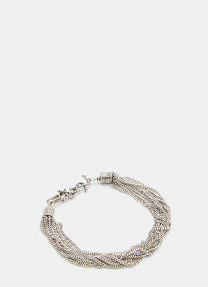 Saint Laurent Loulou Twisted Chain Bracelet in Silver