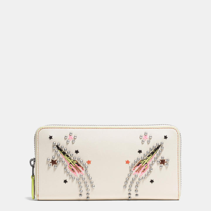 Coach   COACH Coach Accordion Zip Wallet In Glovetanned Leather With Rocket Embellishment