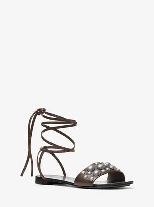 Michael Kors Mica Studded Leather Lace-Up Sandal