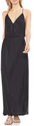 Vince Camuto Hammered Satin Wrap Front Maxi Dress