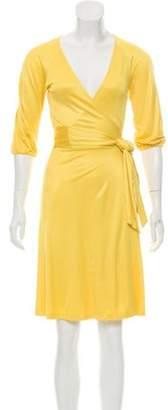 Diane von Furstenberg Knee-Length Wrap Dress Yellow Knee-Length Wrap Dress