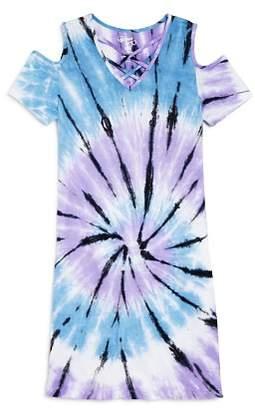 Flowers by Zoe Girls' Cold-Shoulder Tie-Dye Shirt Dress - Little Kid
