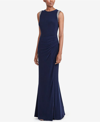 Lauren Ralph Lauren Beaded-Trim Jersey Gown $225 thestylecure.com