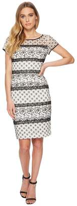 Adrianna Papell Twin Lace Cap Sleeve Sheath Women's Dress