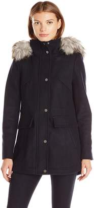 Lucky Brand Women's Wool Anorak with High Collar and Faux Fur Hood