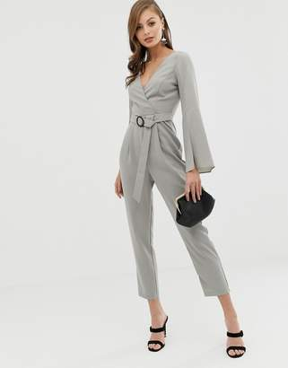 Asos Design DESIGN wrap belted exaggerated sleeve jumpsuit