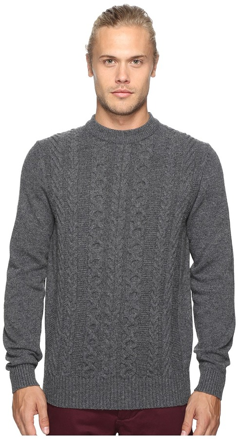 Ben Sherman Ben Sherman Long Sleeve Cable Front Crew Neck Sweater