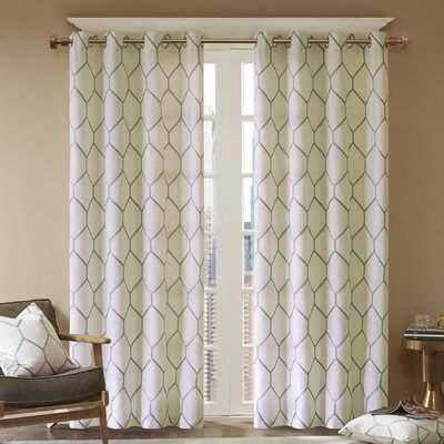 Wayfair Freels Geometric Semi-Sheer Grommet Single Curtain Panel