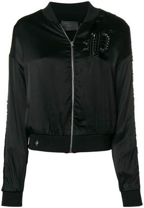 Philipp Plein embroidered satin bomber jacket