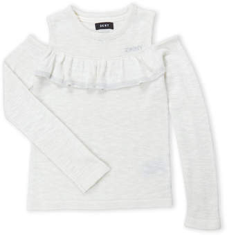 DKNY Girls 4-6x/7-16) Cold Shoulder Ruffle Sweater