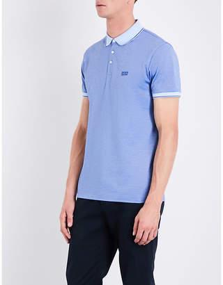 BOSS Regular-fit striped-trim cotton-piqué polo shirt