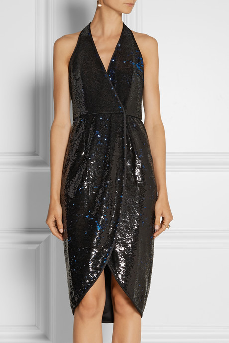 Halston Satin-trimmed sequined wrap dress