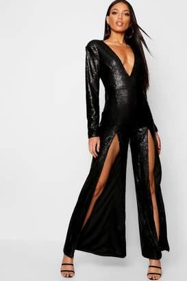 fb663613a3c2 boohoo Boutique Long Sleeve Plunge Sequin Split Jumpsuit