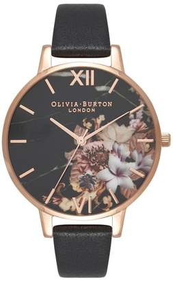 Olivia Burton Marble Floral Leather Strap Watch, 38mm
