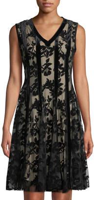 Neiman Marcus Velvet Floral Overlay Cocktail Dress