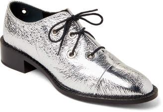 Proenza Schouler Silver Metallic Lace-Up Oxfords