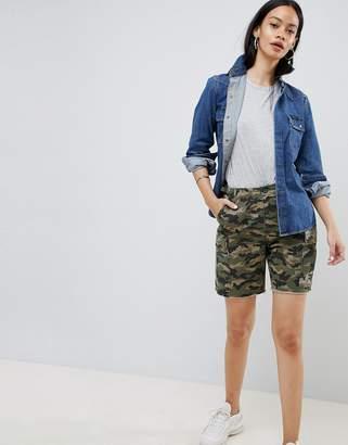 Asos Design DESIGN cargo shorts in camo with raw hem