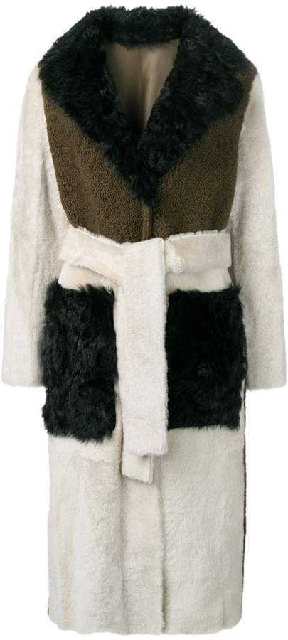 tricolour shearling trench coat