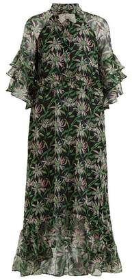 Dodo Bar Or - Rossano Ruffle Trimmed Floral Print Dress - Womens - Black Green