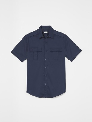 DKNY Tech Poplin Short Sleeve Button Down
