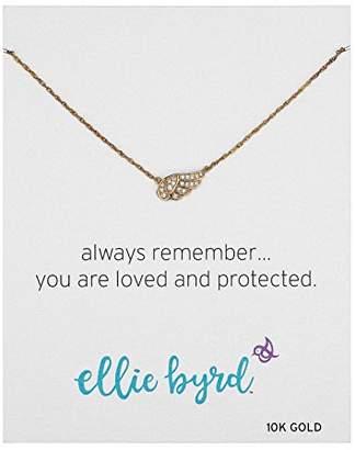 """Swarovski ellie byrd 10k Gold Angel Wing Necklace Made with Crystal (17"""")"""