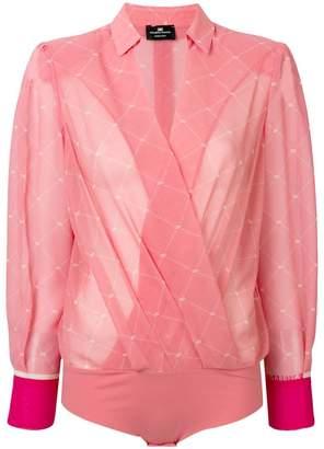 Elisabetta Franchi sheer wrap blouse bodysuit
