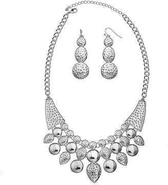 MIXIT Bold Elements Silver-Tone Hammered Bead Necklace & Earring Set