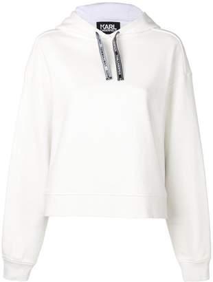 Karl Lagerfeld Paris Lagerfeld fabric mix hoodie
