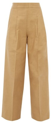 Chimala Pleated High Rise Cotton Twill Wide Leg Trousers - Womens - Camel
