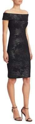 Teri Jon by Rickie Freeman Off-The-Shoulder Stretch Metallic Jacquard Sheath Dress