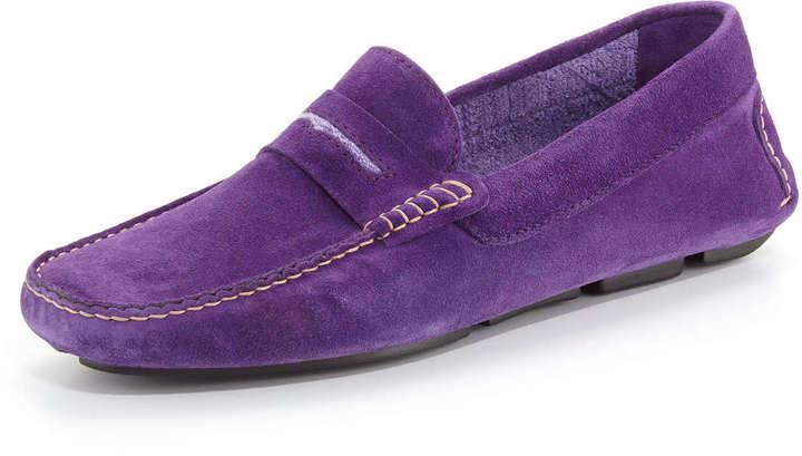 Manolo Blahnik Men's Roadster Suede Driver Loafer, Purple