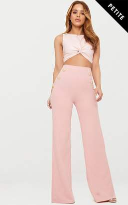 PrettyLittleThing Petite Dusty Pink Military Button Wide Leg Trousers