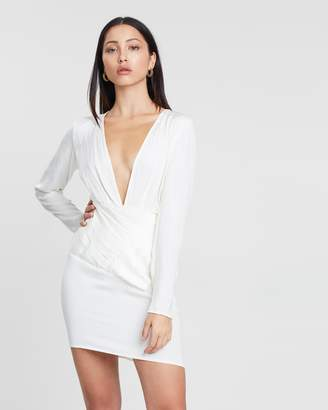 Missguided Silky Long Sleeve Pannelled Shift Dress