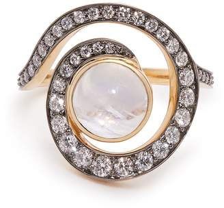 NOOR FARES Planet Spiral 18kt gold, diamond & moonstone ring