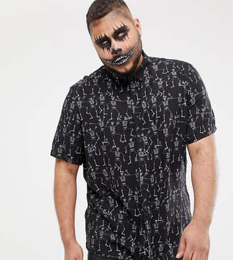 Asos DESIGN Plus Halloween regular skeleton print shirt in black