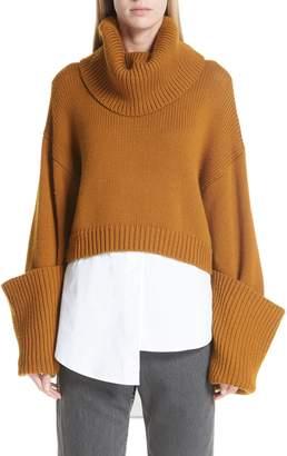 Monse Giant Cuff Crop Wool Sweater